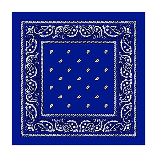 L&M 12Pcs Bandanas 100% Cotton Paisley Print Head Wrap Scarf Wristband (Royal Blue)
