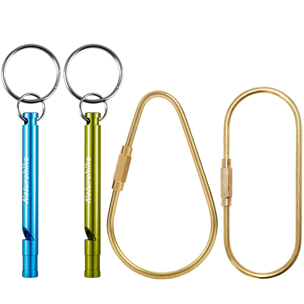 2 Pack Brass Keychains, FineGood Screw-Lock Key Ring Chain Carabiner with 2 Aluminum Whistles FG-brass_key_ring