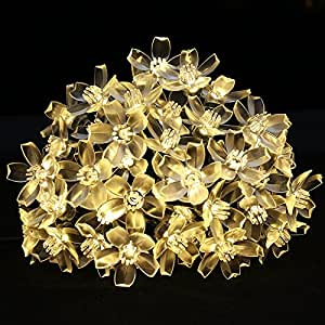 LE 23ft Christmas Solar String Lights, 50 LEDs, Waterproof, Cherry Blossom Lights, Light Sensor, Outdoor Wedding Party Patio Garden Holiday Festival Celebration Thanksgiving Decoration, Warm White