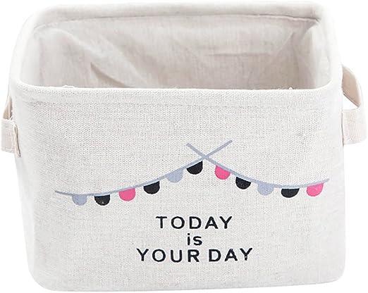 doitsa 1pcs blanco cuadrado pequeña cesta de almacenaje (tela de ...