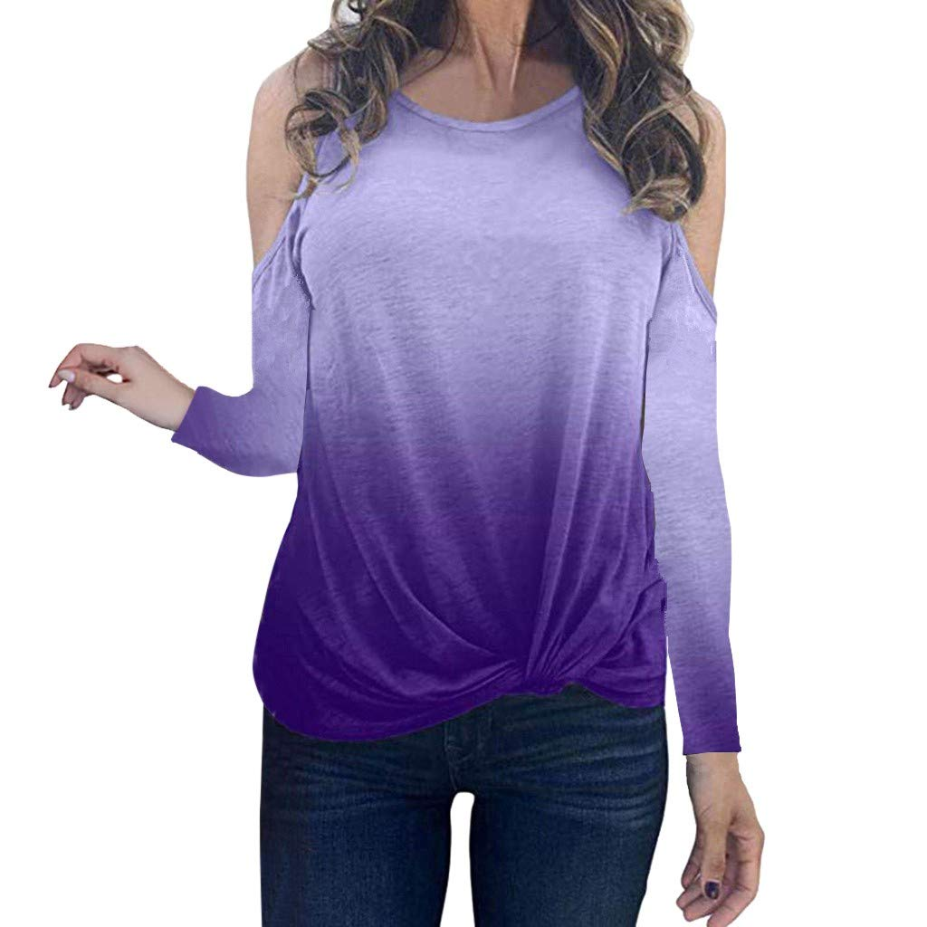 Oldlover✚Gradient Long Sleeve Round Neck Sweatshirt Casual Knotted Tops Blouses Fashion Cold Shoulder T-Shirts Pullovers Purple by Oldlover-Women