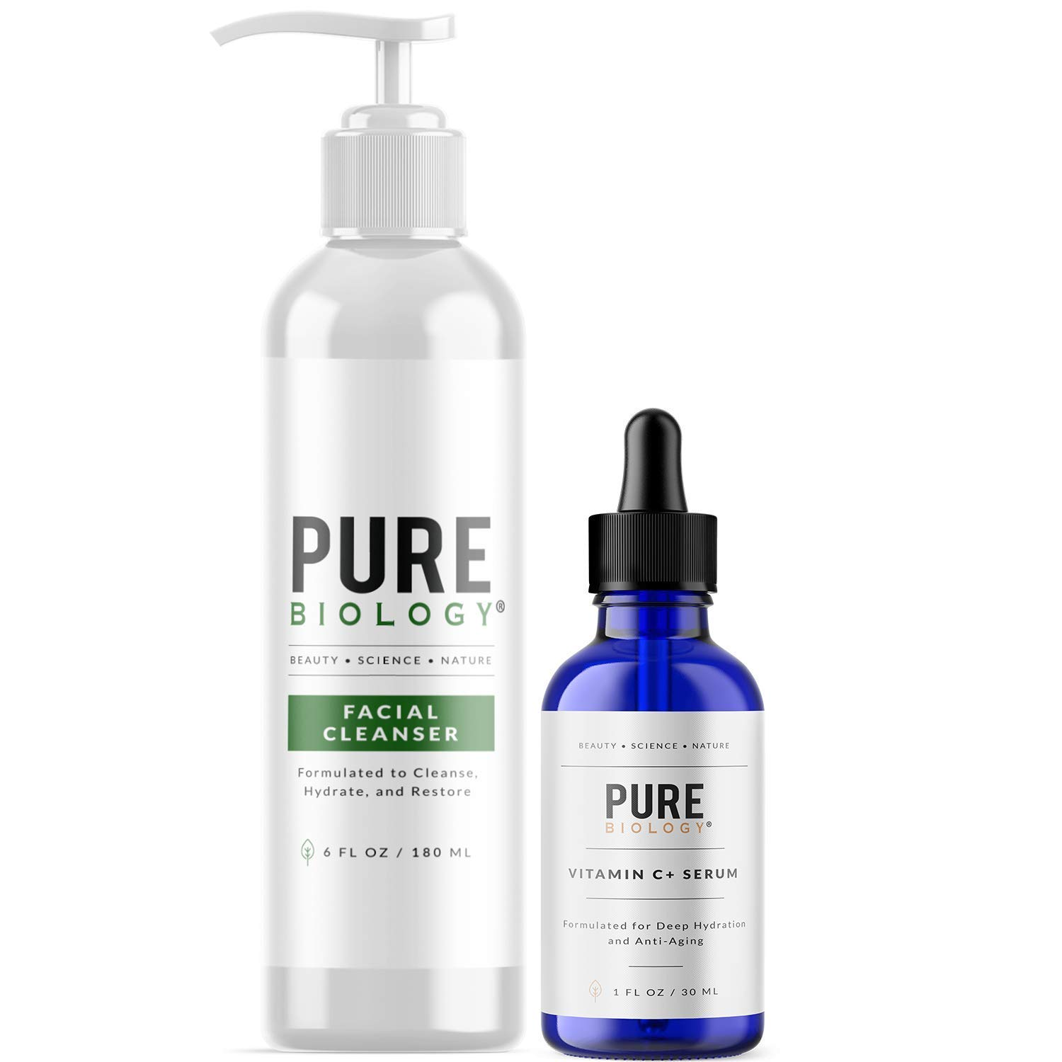 Pure Biology Premium Facial Cleanser & Vitamin C Serum (1 oz) with Hyaluronic Acid