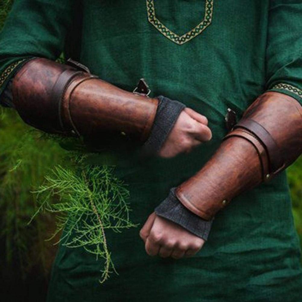 fervortop Leather Bracers Adjustable Leather Bracers Shooting Props Punk Medieval Hand Guard Belt Toy Anti-fall Arm Protective Gear