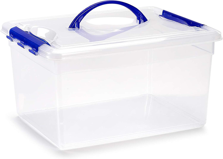PLASTIC FORTE, Caja de almacenamiento, Transparente, 12 litros, con asa: Amazon.es: Hogar