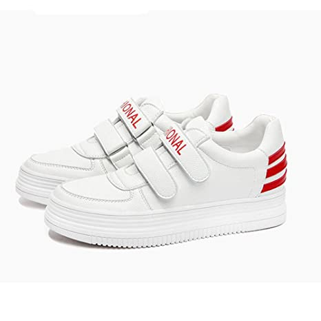 SCARPE HAIZHEN ? Stivaletto Sneakers tennis tennis donna Bianco 3.5cm Per 18-40 anni (Colore : Rosso, dimensioni : EU38/UK5.5/CN38)