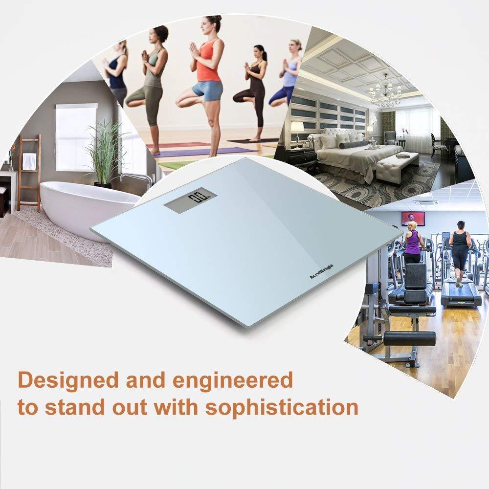 ACCUWEIGHT AW-BS001 digitale Personenwaage aus geh/ärtetem Sicherheitsglas bis zu 180 kg //400 lb Silber