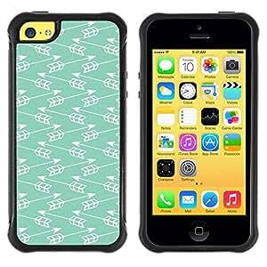 LASTONE PHONE CASE / Suave Silicona Caso Carcasa de Caucho Funda para Apple Iphone 5C / Teal Arrow Indian Minimalist Pattern Chevron