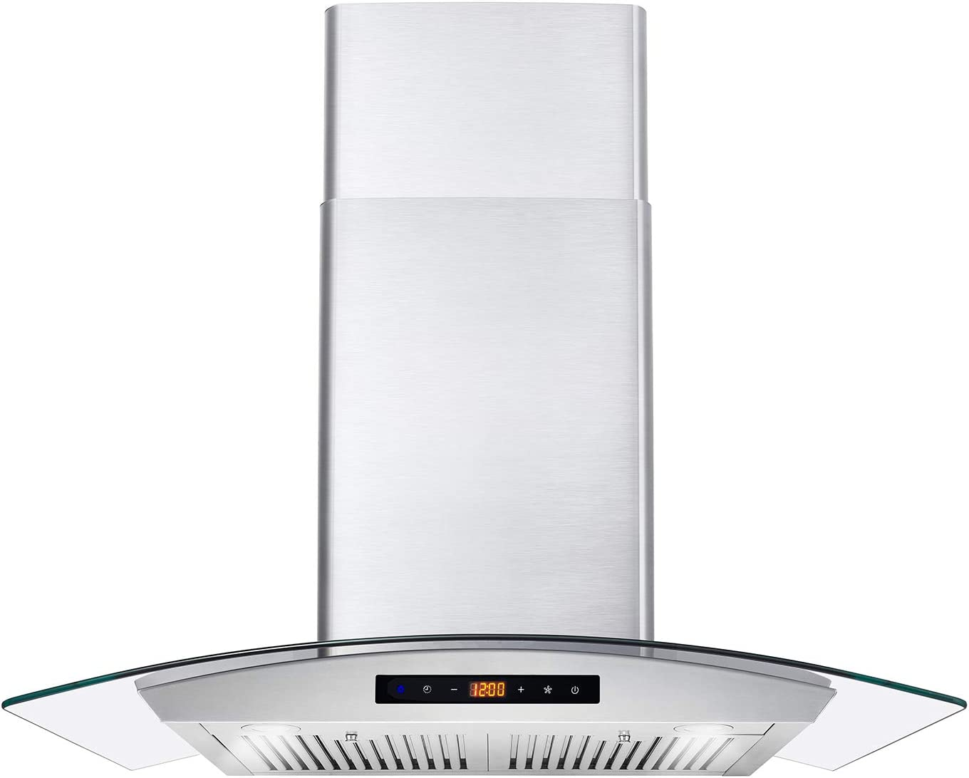 Cosmo COS-668AS750 30 in. Wall Mount Range Hood 380 CFM, Ductless Convertible Duct (additional filters needed, not included), Glass Chimney Over Stove Vent with Light, 3 Speed Exhaust, Fan Timer & Permanent Filter, Stainless Steel