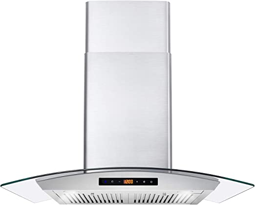 Amazon Com Cosmo Cos 668as750 Wall Mount Range Hood 380 Cfm Ductless Convertible Duct Glass Chimney Over Stove Vent With Light 3 Speed Exhaust Fan Timer Permanent Filter 30 Stainless Steel Appliances