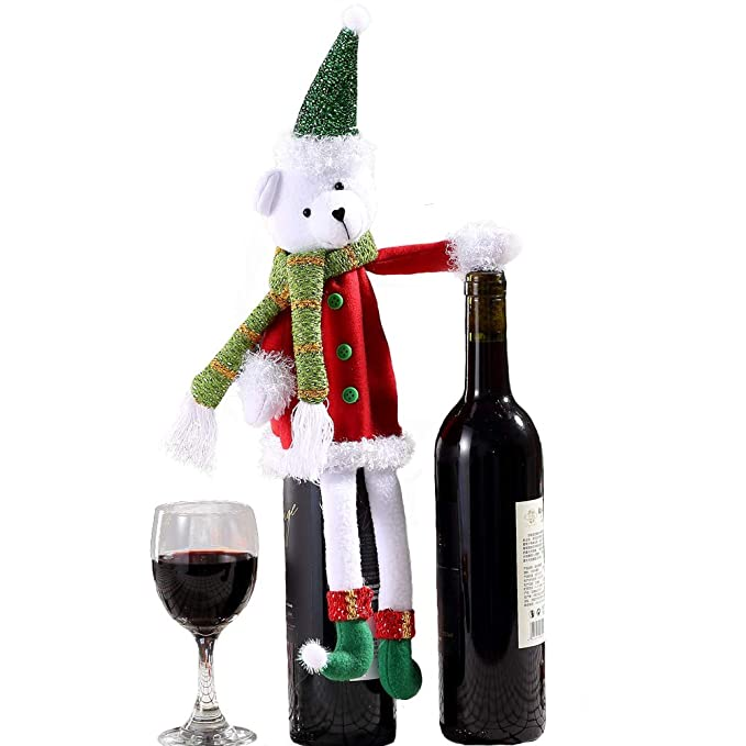 Christmas Wine Bottle Covers Holiday Wine Bottle Dresses Sets Stylish Handmade Wine Bottle Bags Xmas Kitchen Ornaments Accessories for Wine Bottles for Party Valentine Gift Dream Brige