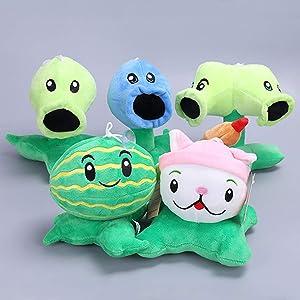 TavasHome Plants vs Zombies Plush Toys,PVZ Soft Doll,5 Pcs/Set