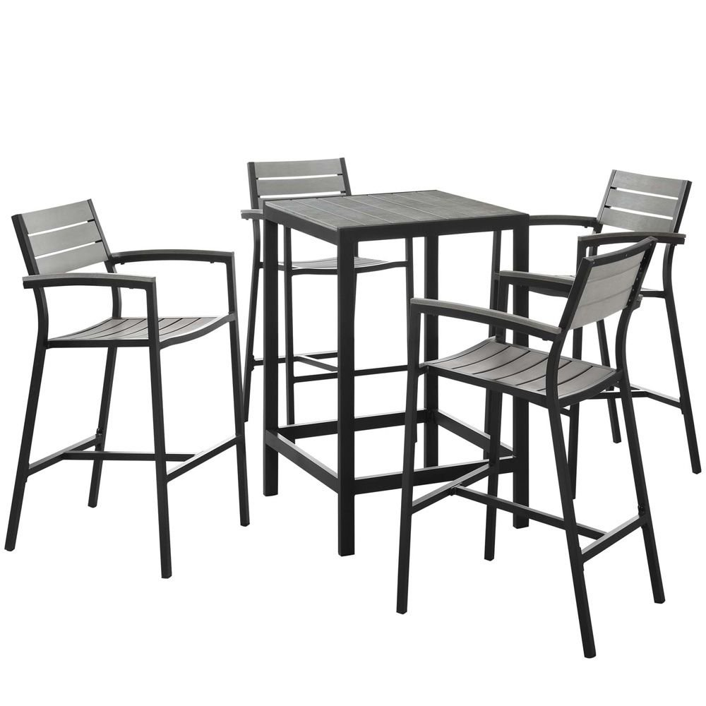 5 PC Outdoor Patio Bar Set Dimensions: 67.5''W x 67.5''D x 42.5''H Weight: 130 lbs Brown Gray by Modway