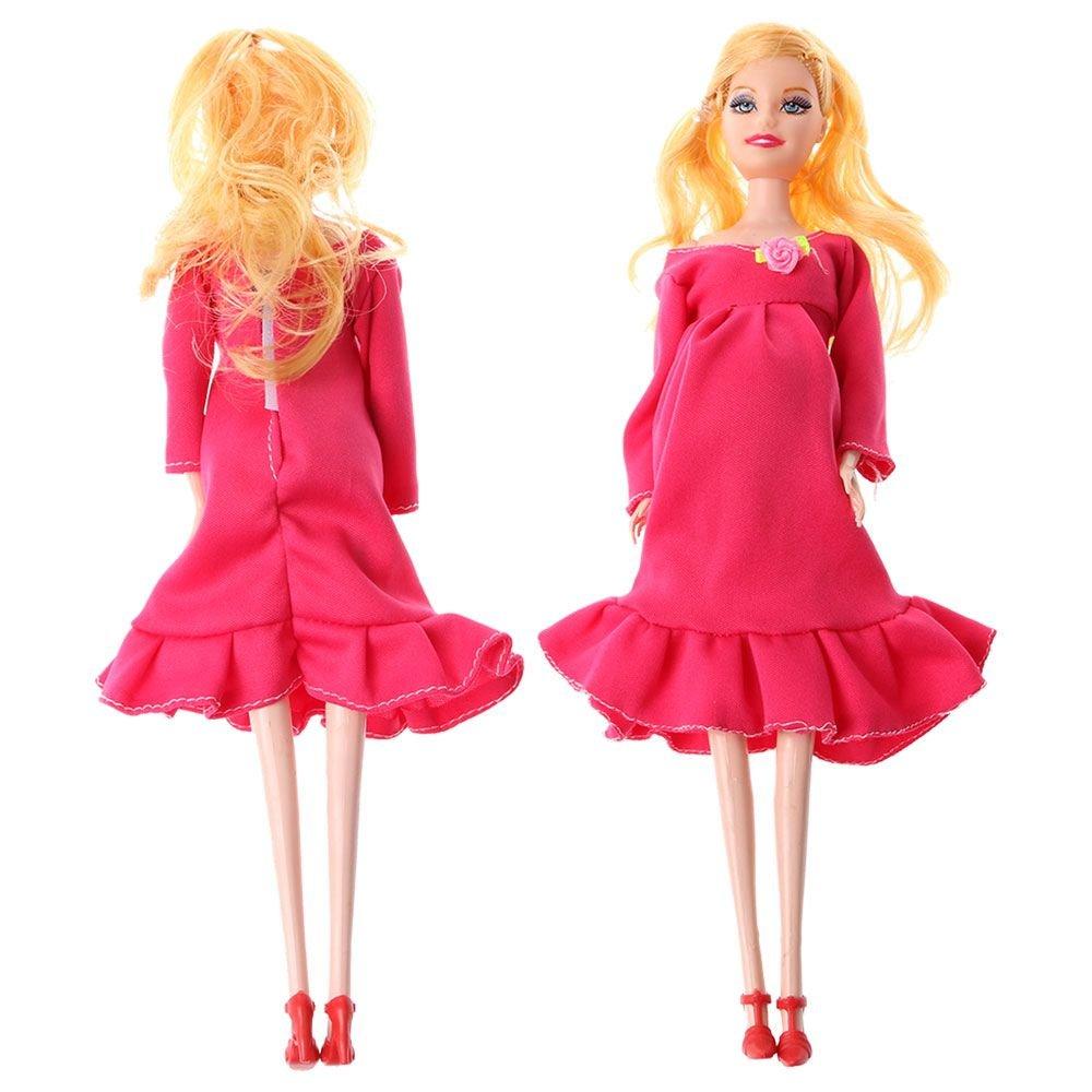 VANKER Embarazada de la mama de la muñeca de la muñeca tiene un bebé en Su Panza con los pequeños zapatos para Barbie - Azul MTgMG