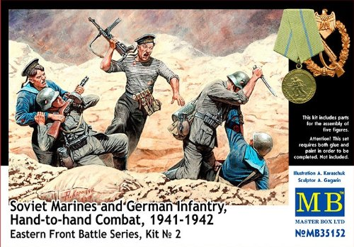 Master Box Hand to Hand Combat Soviet Marines and German Infantry Eastern Front 1941-42 (5) Figure Model Building Kits (1:35 Scale)