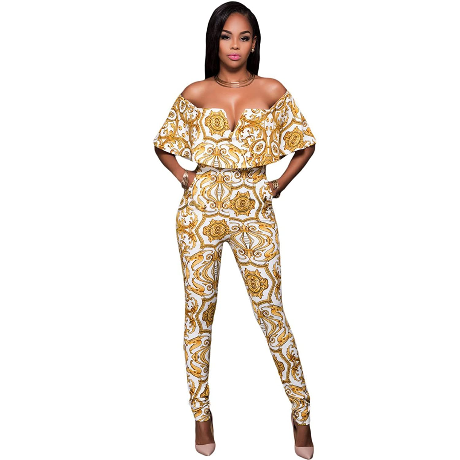 Sugarwewe Tapestry Print Belted Off Shoulder Ruffles Womens Jumpsuits and Rompers