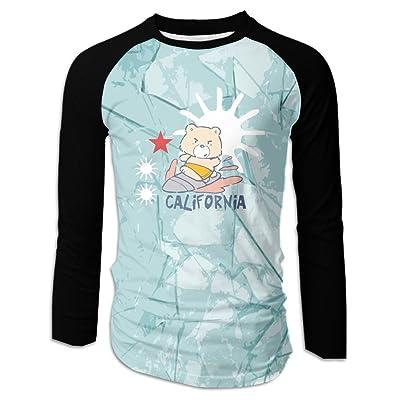 NVJ SHIRT California Surf Bear 3d Graphic Mens Performance Raglan Long Sleeve T-Shirt