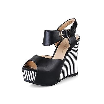 decd82acd05b65 Ladola Womens Hollow Out Metal Buckles Platform Wedges Black Urethane Platforms  Sandals DIU00512-4 B