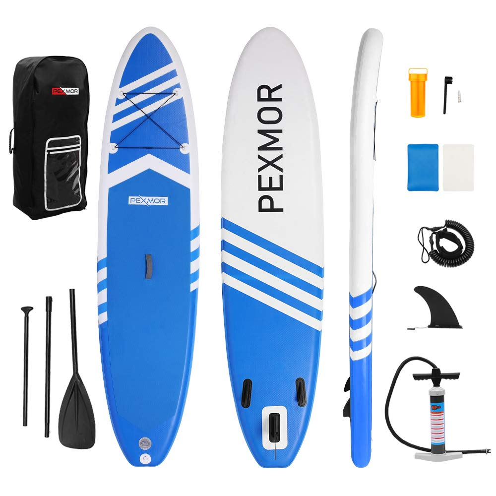 FCH-PEXMOR Inflatable SUP Stand Up Paddle Board 10.5'x30 x6 Wide Stance, Bottom Fin for Paddling, Surf Control Non-Slip Deck Standing Boat Maximum Capacity 551 LBS for Youth & Adult (Blue and White) by FCH