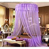 XIDUOBAO Round Hoop Bed Canopy Netting Mosquito Net,Mosquito Canopy Netting Fabric Fits Cribs, Twin, Full and Queen Sized Beds. (purple)