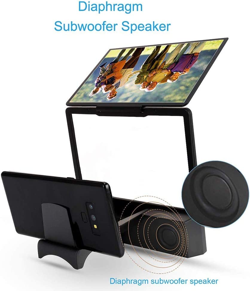 Bluetooth Spearker 3D HD Mobile Phone Screen Magnifier Amplifier Movie Video Cell Phone Enlarger Screen Phone Projector for All Samrtphones