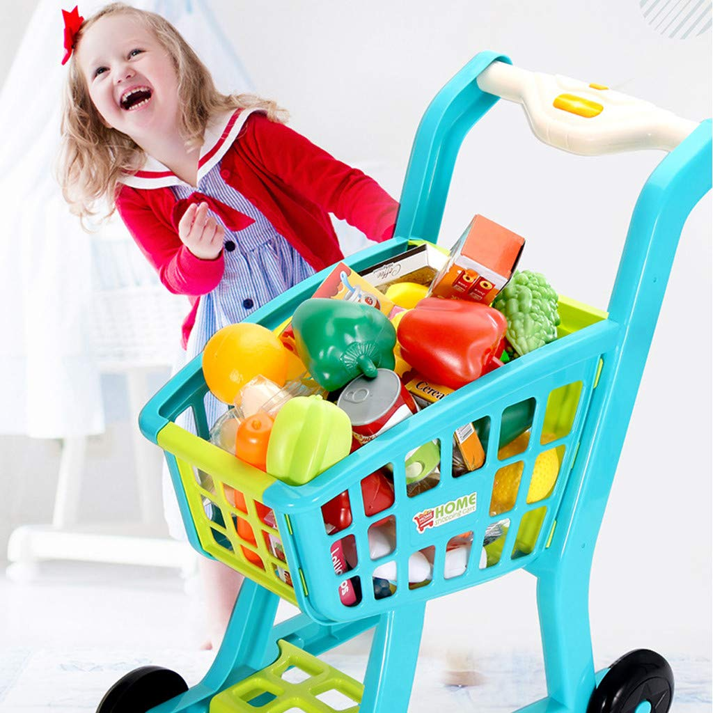 Besde Toys Children's Shopping Cart Toy Pretend Play Toy, Simulation Supermarket Toy with Groceries, Mini Shopping Cart with Full Grocery Food Toy Playset Educational Gift for Girls Kids (Blue) by Besde Toys (Image #4)