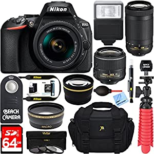 Nikon D5600 24.2MP DX-Format Full HD 1080p Digital SLR Camera (Body Only) + 64GB Deluxe Accessory Bundle