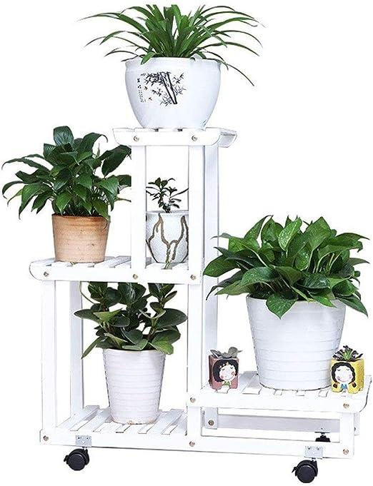 Soportes para Plantas Soporte para Flores Soporte De Planta De Madera Interior Escalera para Flores con Ruedas Flores Estantería,Blanco: Amazon.es: Hogar