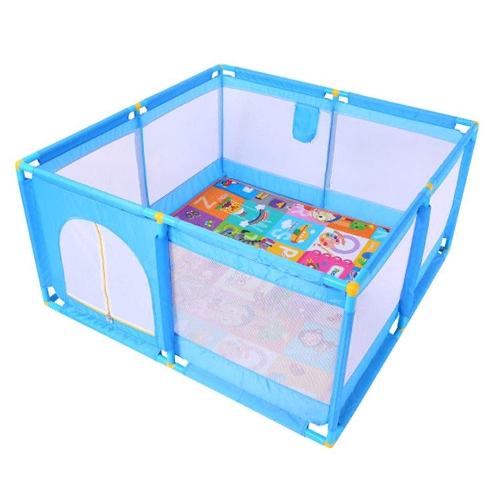 Baby playpen Square Baby Indoor Safety Playpen, Handrail Plus Cotton Bag Breathable Waterproof Net Baby Safety Fence (Color : Blue, Size : 12812866cm) by LIL Baby playpen