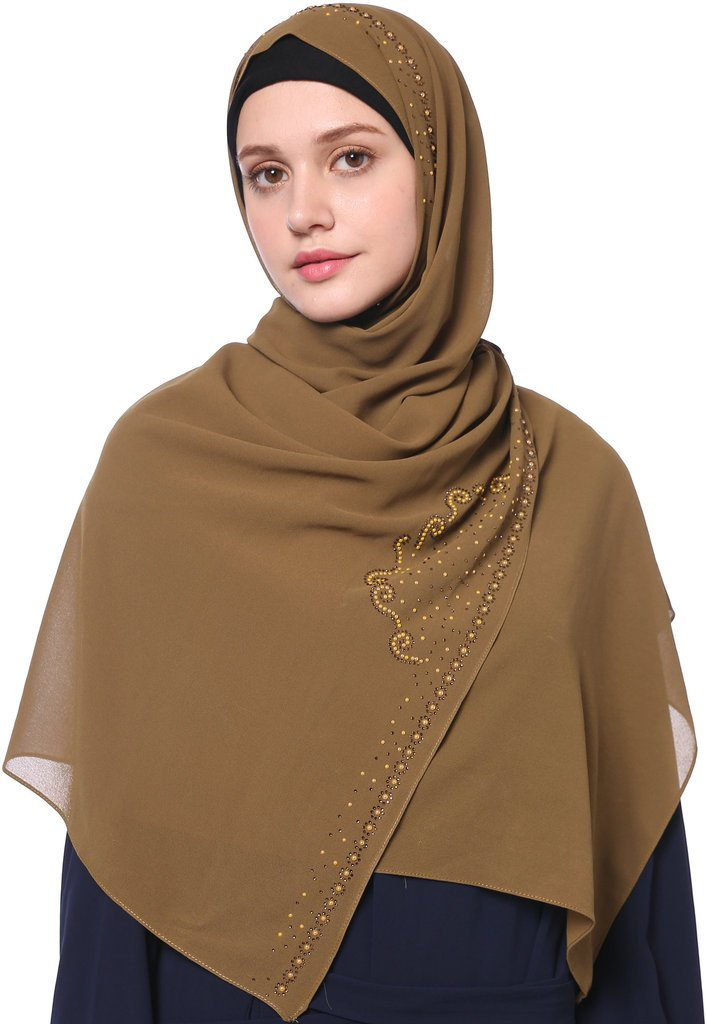 YI HENG MEI Women's Modest Muslim Soft Chiffon Rhinestones Long Hijab Headscarf with Buttons 70×25inch,Tan by YI HENG MEI (Image #1)