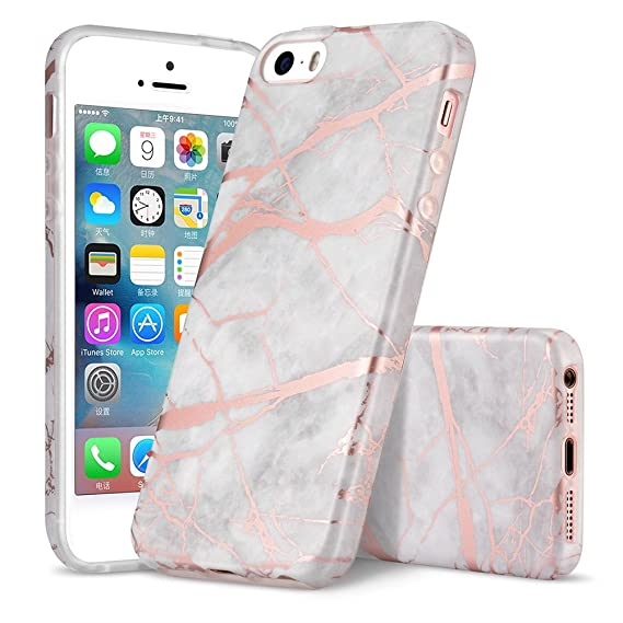 info for 1dd71 fa091 iPhone 5S Case, iPhone 5 Case, iPhone SE Case, WORLDMOM Marble Pattern  Shiny Rose Gold Slim TPU Rubber Hybrid Anti-Scratch Shockproof Protective  Case ...