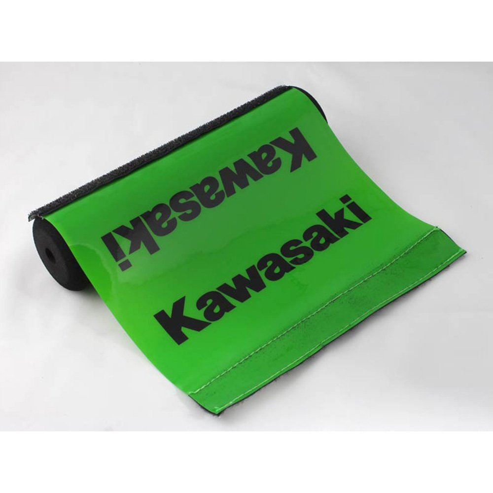 Short Green Pad & Black Text Kawasaki Soft Impact Absorbing Dense Foam Protector Accessories for Various Wheeled Vehicles w/ Crossbars (7.87in Length)