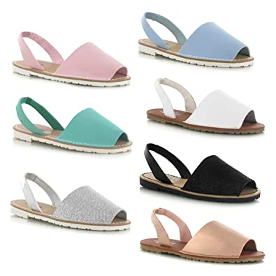 5fa2fcffdd24 WOMENS LADIES GIRLS LIGHT CREAM MINT BLACK SILVER GLITTER PINK BLUE PASTEL  WHITE ROSE GOLD FAUX LEATHER MENORCAN HOLIDAY BEACH MULES SLIDERS ...