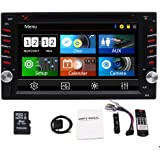 Double Din Car Stereo 2 Din Car Radio GPS Navigation with 3 New UIS support Bluetooth DVD Player AM FM RDS Radio USB TF AUX SWC with 6.2 Inch Capacitive Touch Screen 8GB Map Card Remote Control