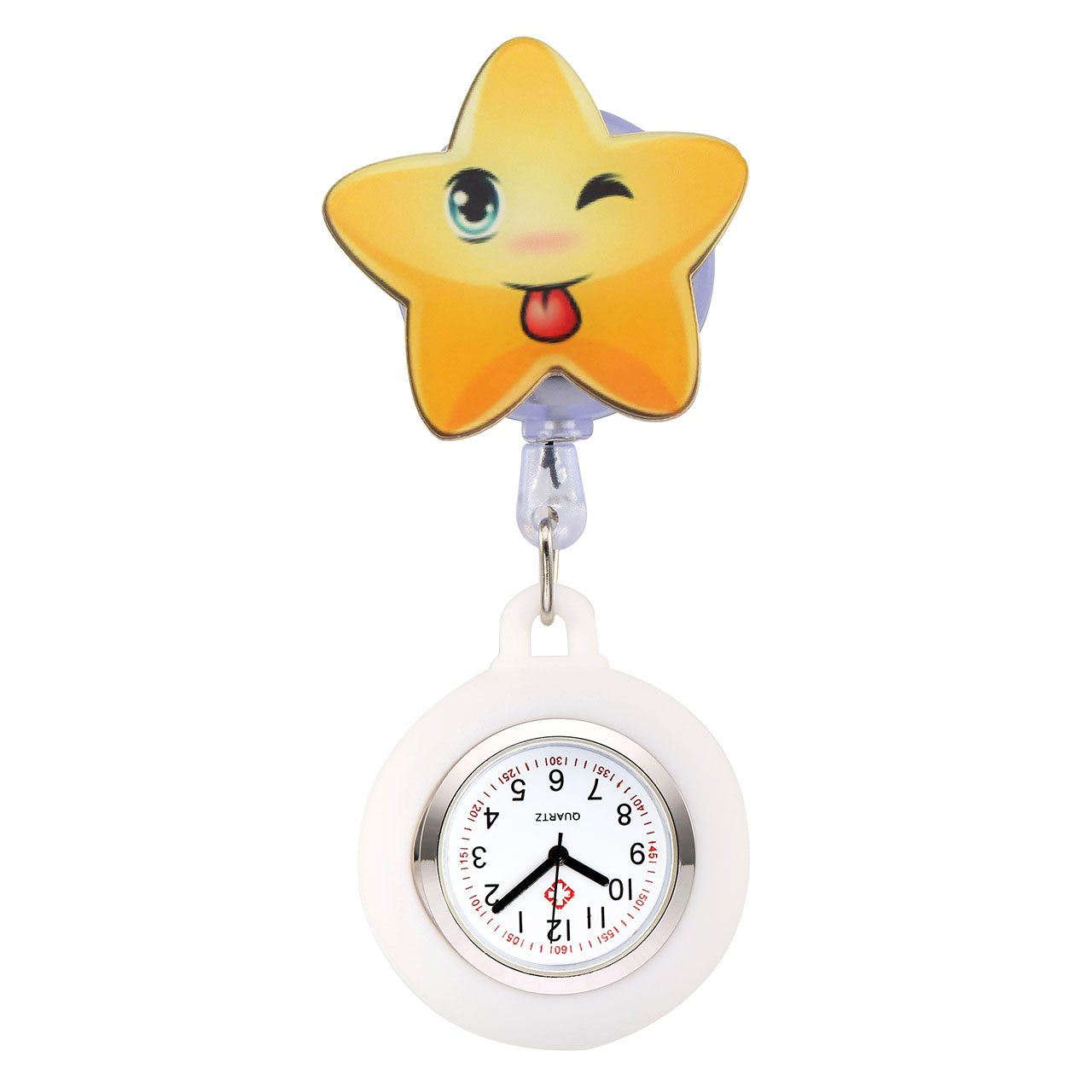 Top Plaza Girls' Kid's Cute Lovely Cartoon Pentagram Silicone Nurse Clip-on Fob Brooch Hanging Easy Pull Clasp Stretch Analog Quartz Pocket Watch(White)