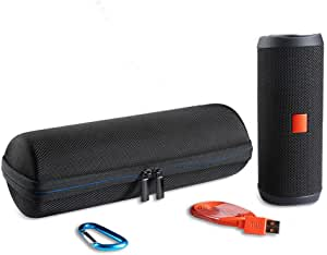 LuckyNV Hard EVA Carrying Travel Case for JBL Flip 3 4 Waterproof Portable Bluetooth Speaker Bag.Fits USB Cable and Accessories