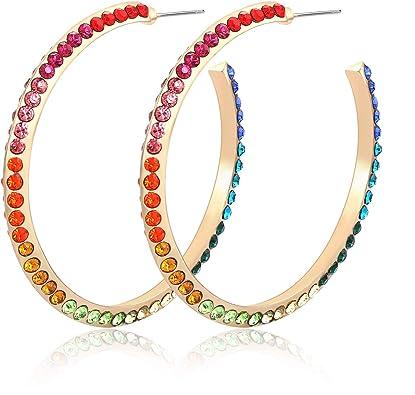 Handmade rainbow rhinestone fringe earrings