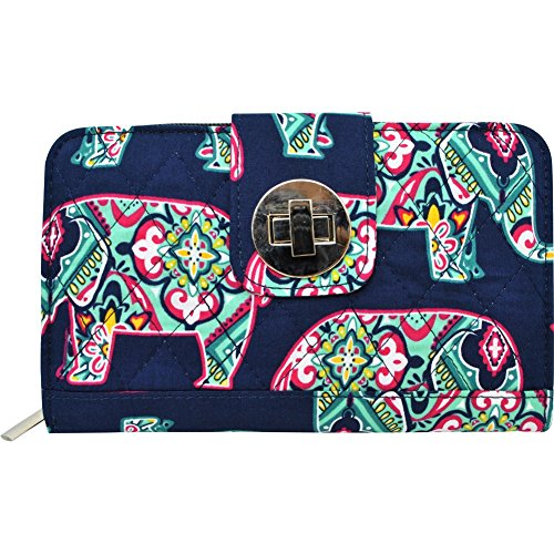(Elephant Print NGIL Quilted Twist Lock Wallet)