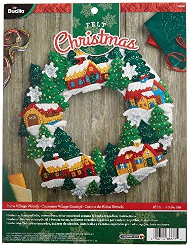 Bucilla Felt Applique Wreath Kit, 16 by 16-Inch, 86686 Snow Village