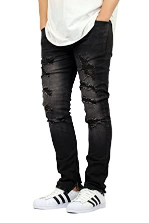 a831fb9a202 KDNK Men's Black Denim Destroyed Ankle Zipper Skinny Jeans at Amazon ...