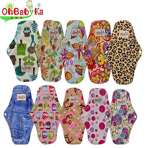 OHBABYKA Bamboo Reusable Sanitary Napkins Pads for Women, Size M