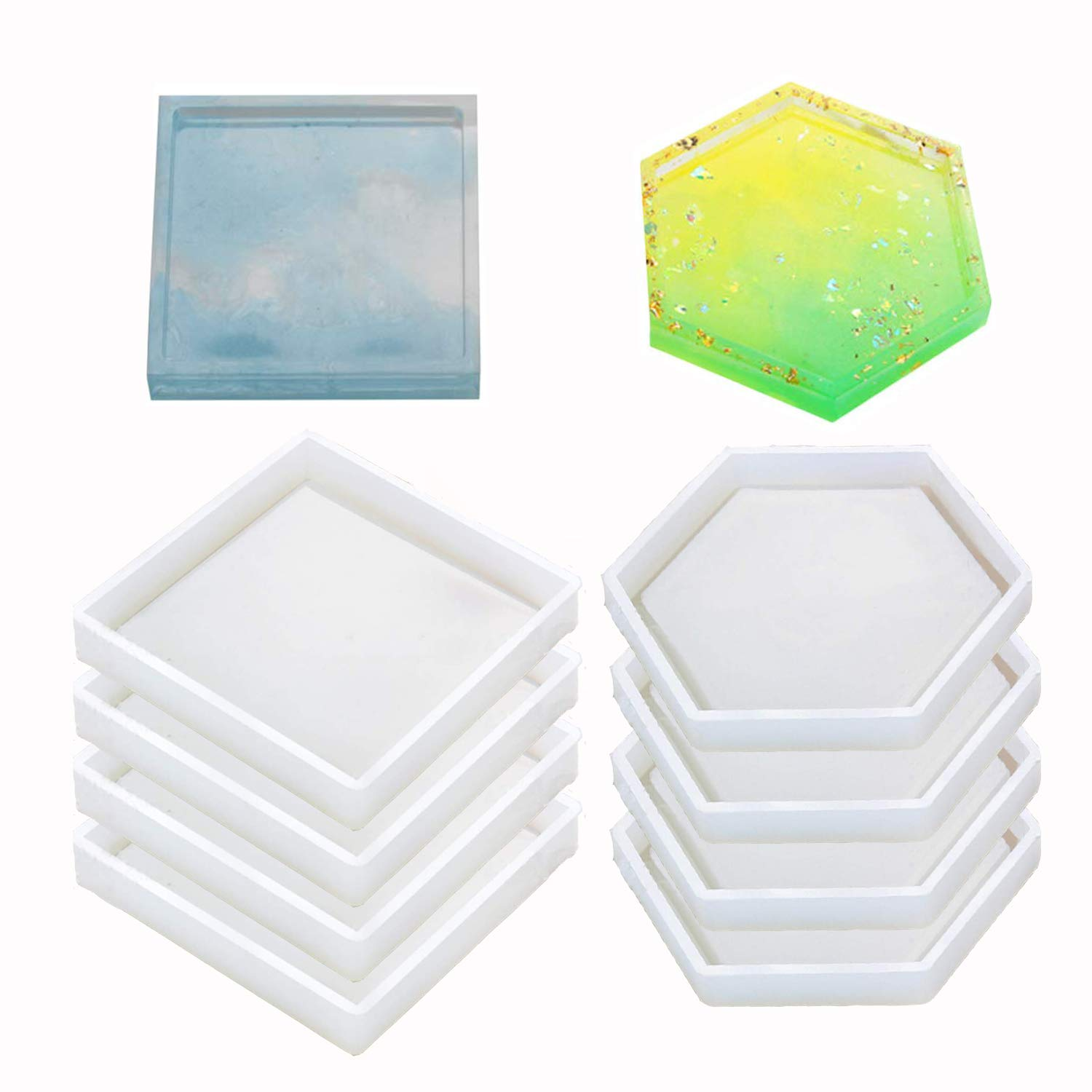 8 Pack Silicone Coaster Molds Including Square, Hexagon - Silicone Resin Mold, Clear Epoxy Molds for Casting with Resin, Concrete, Cement and Polymer Clay by Buytra