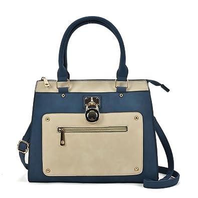 87e9a97fb9e96 SALLY YOUNG Fashion Women Designer handbag Front Zip Detail Tote Bag  (Navy)  Amazon.co.uk  Shoes   Bags