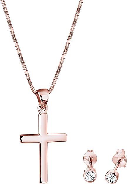 Elli Ensemble de Bijoux Femme Pendentif Croix avec des Cristaux ...
