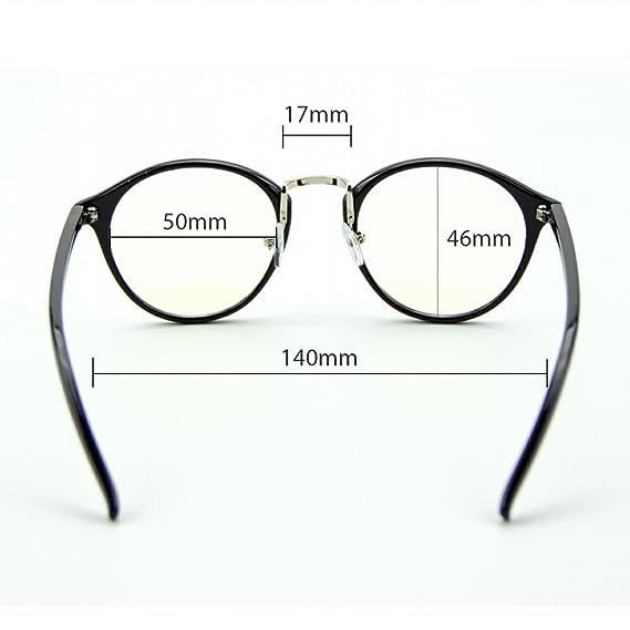 8ab522c90d Cyxus vidrios ordinarios retro redondo marco [transparente lente] gafas  unisexo(hombres/mujeres) ligeras cómodas clásico moda negro marco:  Amazon.es: Salud ...