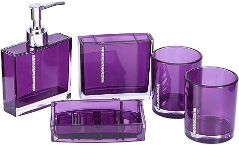 Amazon Com Zerodis 5pcs Purple Bathroom Accessory Set Acrylic Bathroom Accessories Sets Bathroom Vanity Countertop Accessory Set For Home Home Kitchen