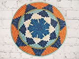 16'' X-Large African Basket- Mwangaza / Rwanda Basket / Woven Bowl / Sisal & Sweetgrass Basket / Blues, Orange, Green, Cremes