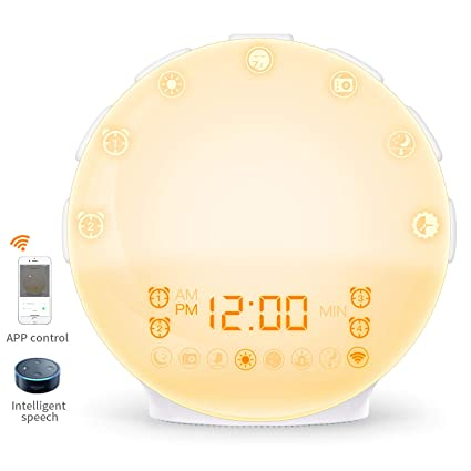 [2019 Upgraded] Smart Alarm Clock,COULAX Wake Up Light Sunrise Alarm Clock  with Alexa Voice Control,Android iOS App Control,Four Alarm Clocks,20