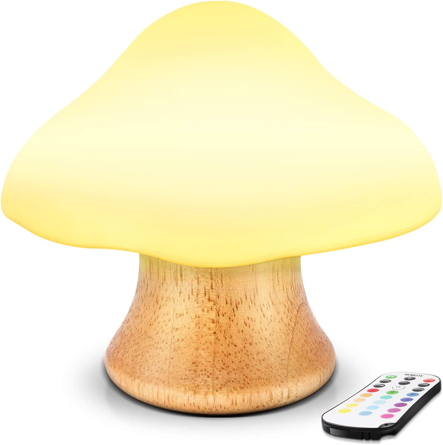 Children's Night Light ANGTUO Wooden Mushroom Lamp Silicone LED Bedside Nursery for Baby Breastfeeding Kids Bedroom - 16 Color Changing - 4 Brightness - 4 Light Mode Control by Remote. New Style(2020)