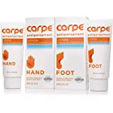 Carpe Antiperspirant Hand and Foot Lotion Package Deal (1 Hand and 1 Foot Tube - Save 17%), Stop Sweaty Hands and Sweaty, Sme