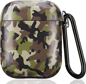 Airpods Case - IceModo Cute Camouflage Airpods Accessories Protective Hard Case Cover Portable & Shockproof Women Girls Men with Keychain for Apple Airpods 2/1 Charging Case (Camo, Matted Surface)